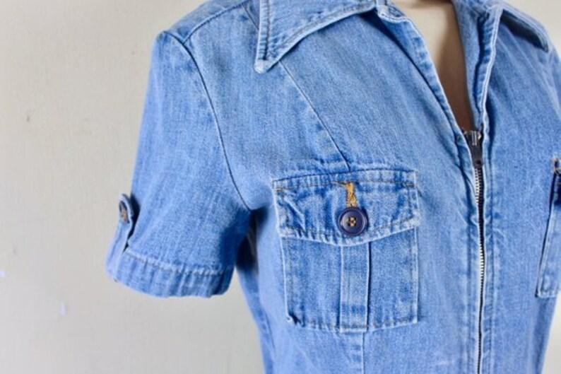 38471952b9 Vintage 70s Landlubber Blue Denim Romper Playsuit Shorts