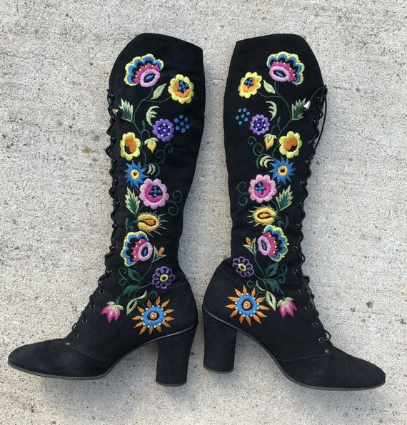 Jerry Edouard Boots Vintage 60s 70s Embroidered Be