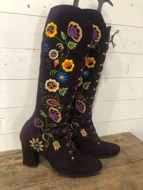 Jerry Edouard Boots Vintage 60s 70s Purple Embroid