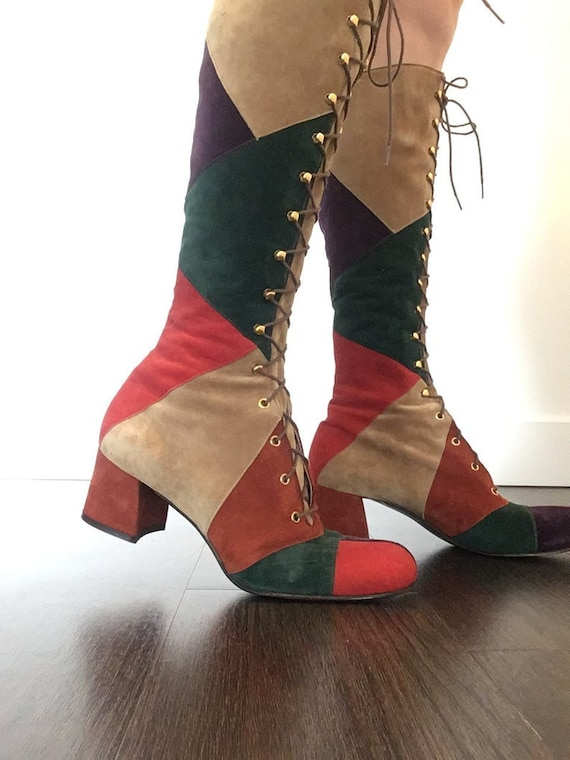 Vintage 60s 70s Multi Color Patchwork Lace Up Boot
