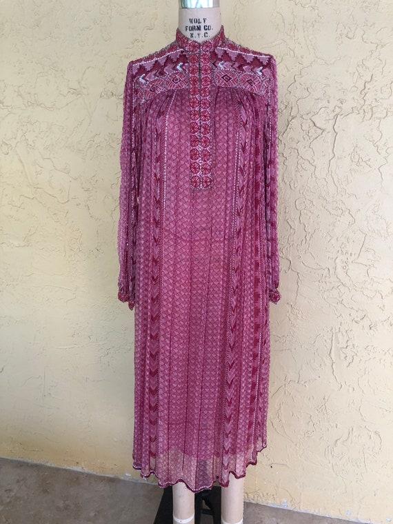 Vintage 70s Judith Ann Indian Dress Midi Dress Sil