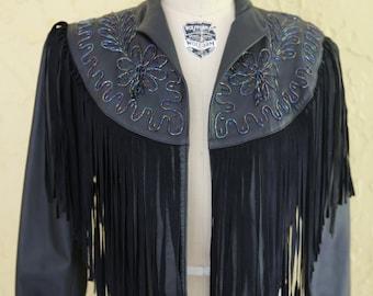 Vtg 80s 90s Women's Black Leather Cropped Jacket Coat  Beaded Fringe Boho Hippie Southwestern