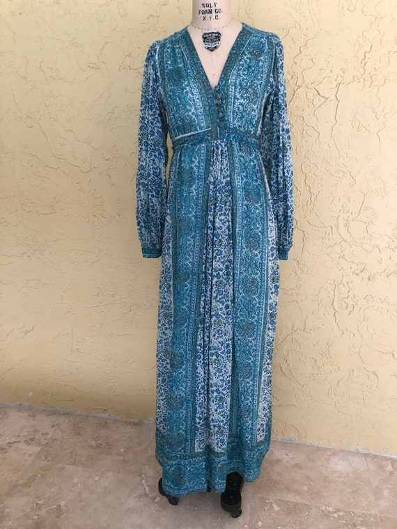Vintage 70s Indian Dress Maxi Dress Orients Exclus