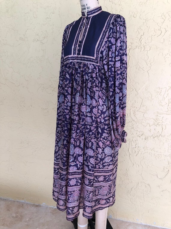 Vintage 70s Phool Indian Dress Midi Dress Silk Dre
