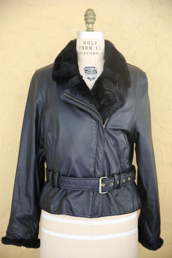 Womens Genuine Leather Classic Collar Black Jacket