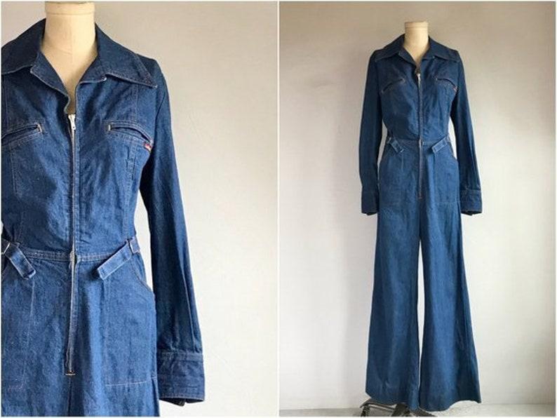 f68c045805 Vintage 1970s 1980s Landlubber Jumpsuit Women s Blue Denim
