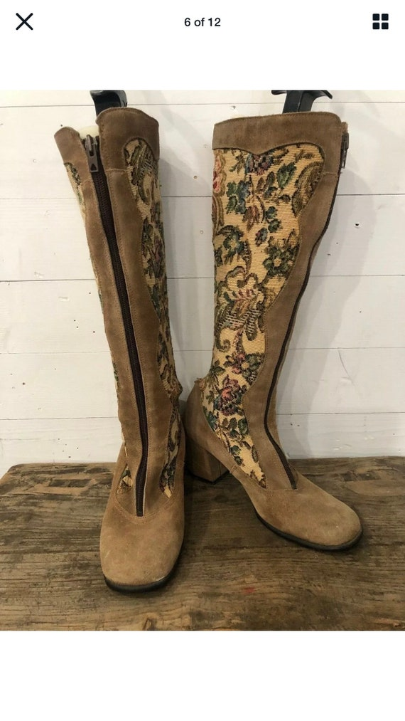 Vintage 60s 70s Floral Tapestry Suede Gogo Boots P