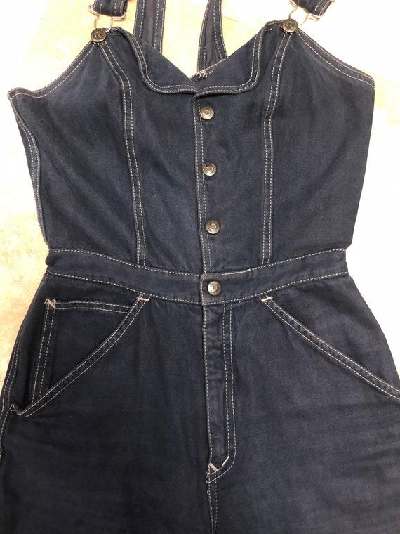 Vintage 1970s N'est Ce Pas BLACK Denim Overalls J… - image 7