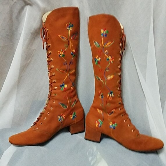 Vintage 60s 70s Embroidered Boots Rainbow Stitched