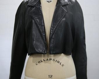 Vintage Black Leather Cropped Coat Jacket