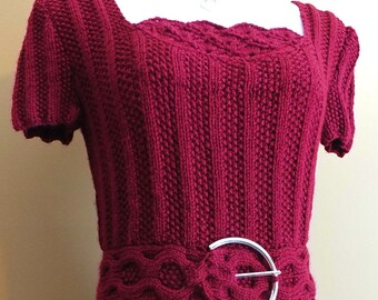 Red Ribbed Sweater Dress with Cabled Belt