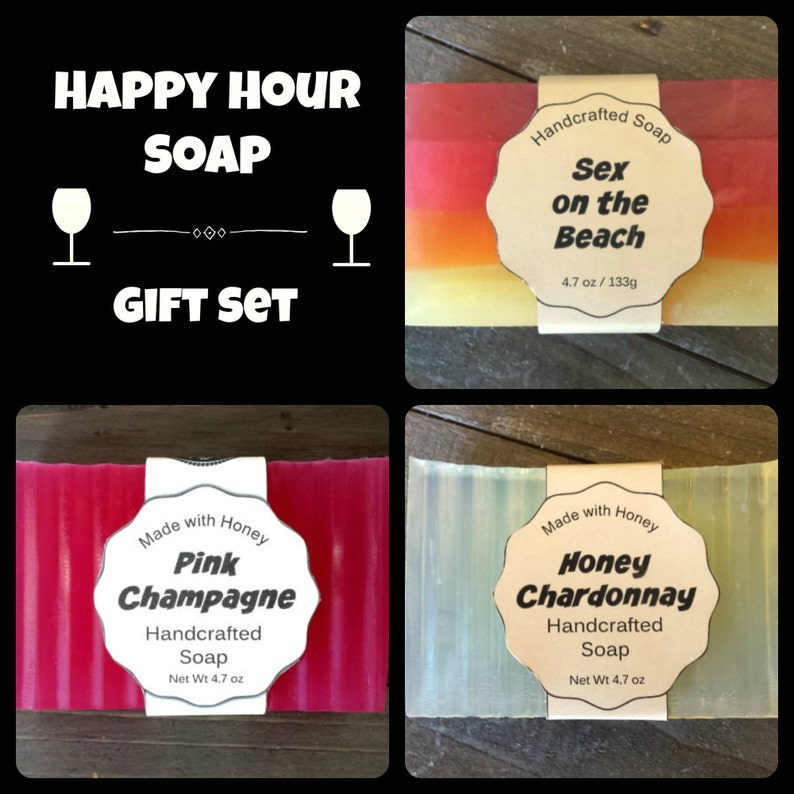 Happy Hour Soap Gift Set  Wine Soap  Gift for Wife  Alcohol image 0