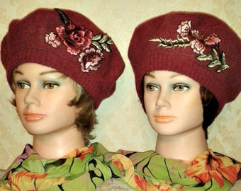32c674960c8f3 Raspberry pink felted wool beret-Choice of 2 smart beret with embroidery  applique-Fully lined beret-Women wool beret-Size M L-ONE of a Kind