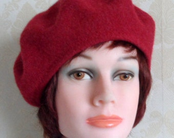 fe47c66e57d44 Red color boiled merino wool beret french style beret pure felted lambswool  beret Scottish red tam women classic red beret Highlander beret