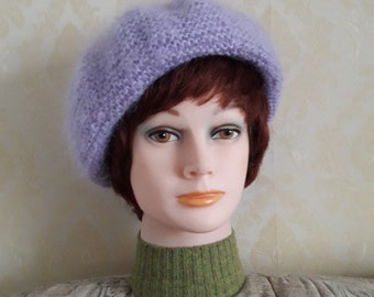 b173ead8 Pale lilac color warm mohair beret-British Luxury mohair fuzzy yarn beret-Elegant  women' soft fluffy mohair beret-Mohair accessories