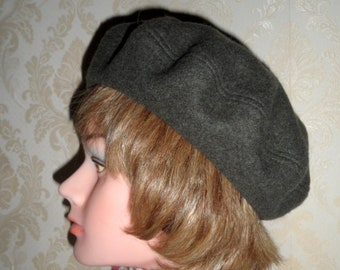 830981eb Unisex dark grey boiled wool Highlander beret French style grey color beret  pure felted lambswool Scottish tam handmade classic wool beret