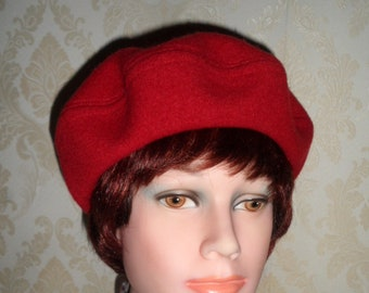 af72156179af2 Bright red boiled wool beret handmade smart teen women french style beret  felted pure reclaimed wool hat classic beret red wool beret