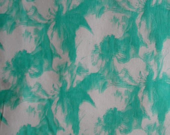 381a4c7d7b4 Turquoise green jersey fabric piece-Floral print jersey knit 4 way stretch  fabric-Summer dress turquoise fabric-Cotton jersey fabric piece