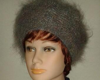 599124338ec6e Grey melange beret-British luxury mohair yarn beret-Super soft mohair beret-Elegant  women beret-Fluffy   warm beret-Warm Mohair accessories