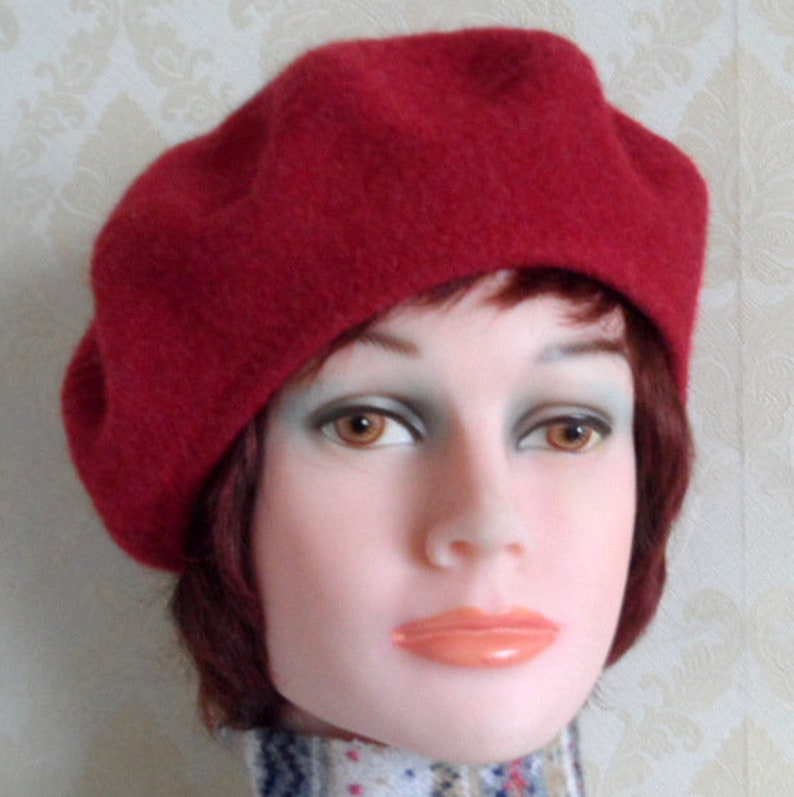 728671df Red color boiled merino wool beret french style beret pure   Etsy
