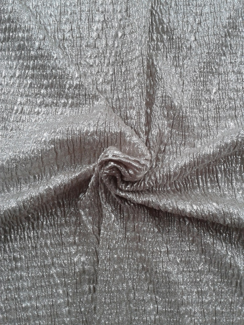 79755af5f69 Silver color polyester knit fabric with a crinkled wave | Etsy