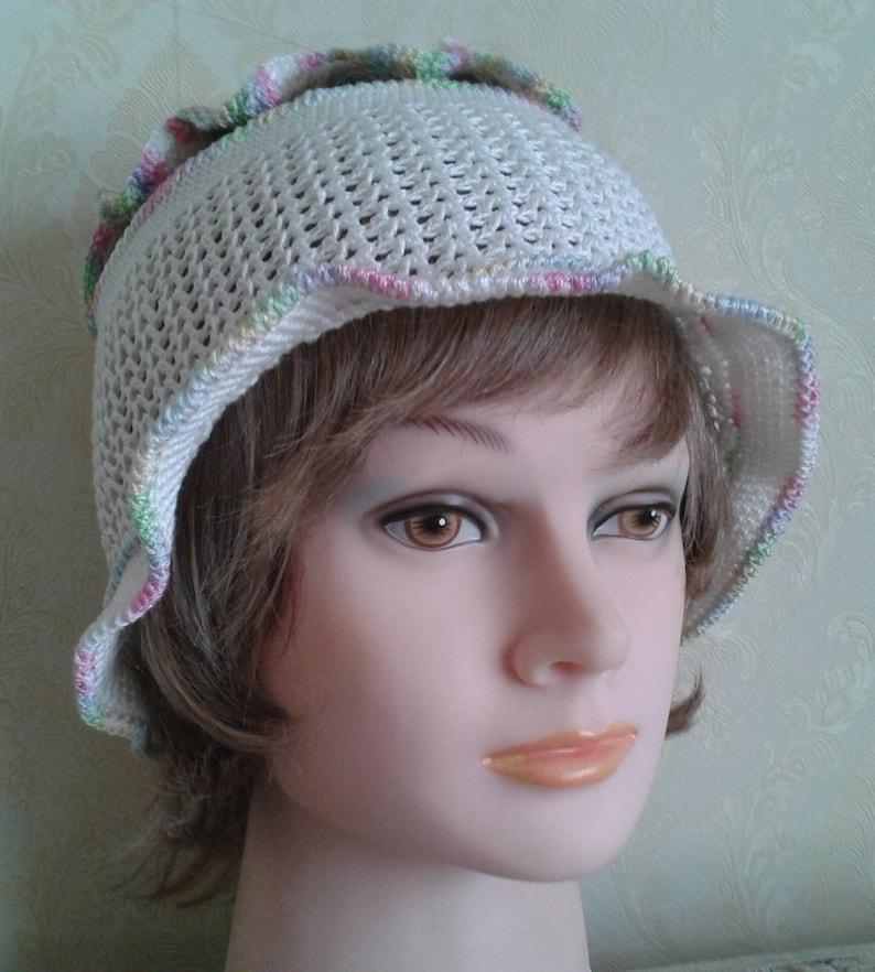Cloche hat-White cotton crochet hat-Women/'s white cotton sun hat-Summer holiday hat-Crochet cotton summer hat-Summer beach hat