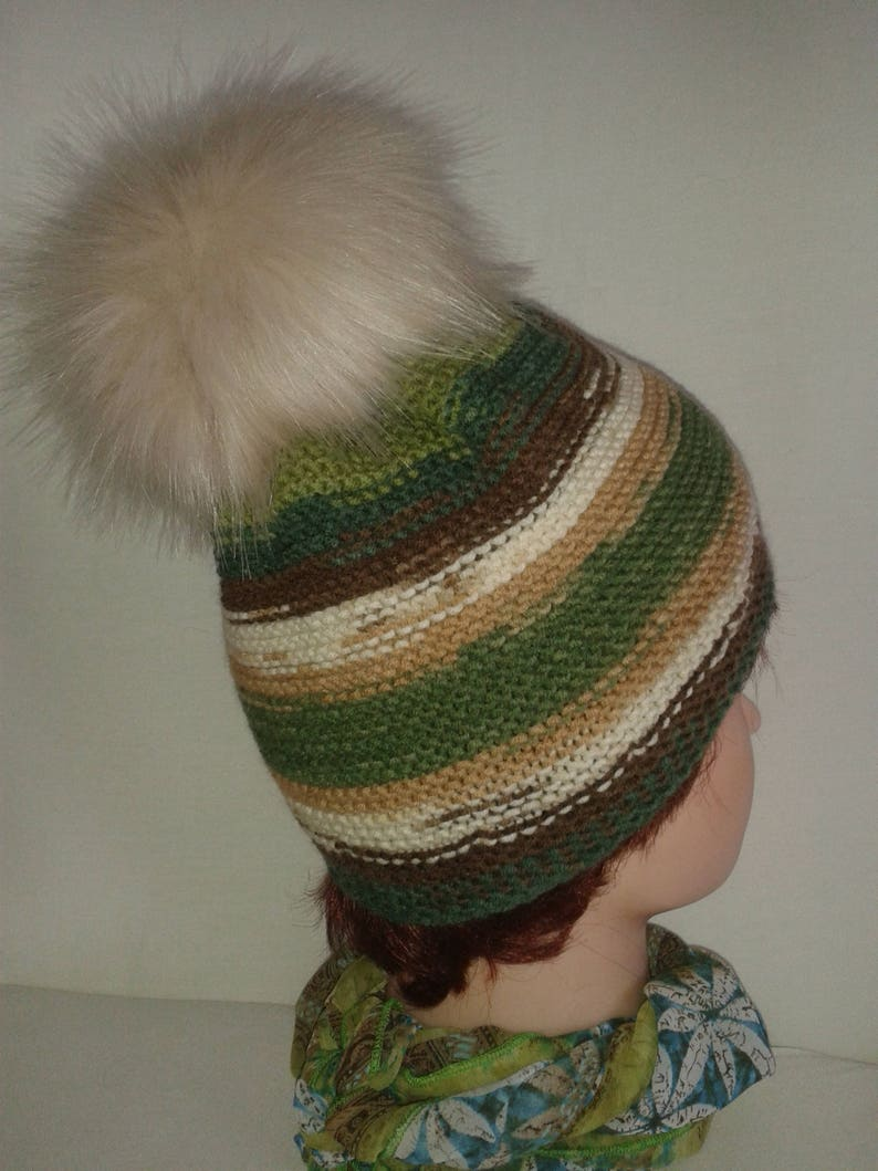 ac4feadc3 Women's multi color beanie-Warm wool beanie with a real fur pompom-Winter  beanie in green brown white & camel colors-Winter fall fashion hat