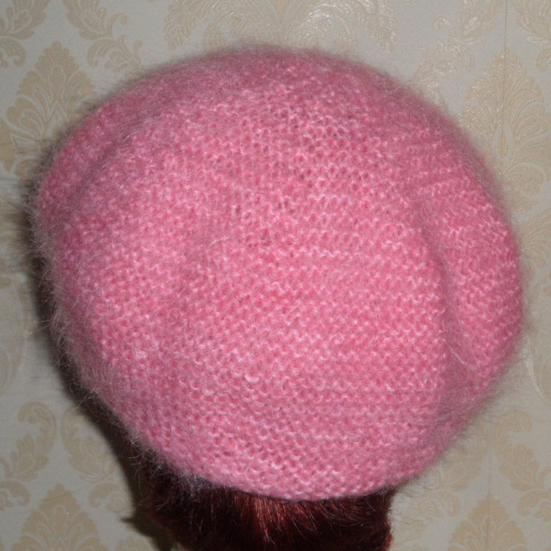 250492a99 Pink mini beret-Baby pink color British mohair yarn beret-Smart soft warm &  fluffy beret-Elegant women's fuzzy beret-Mohair accessories