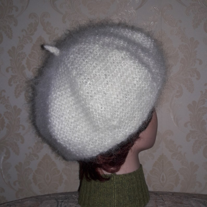 9b4d1f3d80a52 White color British mohair yarn fluffy beret-Elegant