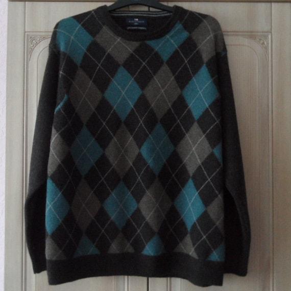 ba16c58c99042 Vintage 90s smart men argyle pattern jumper M size organic