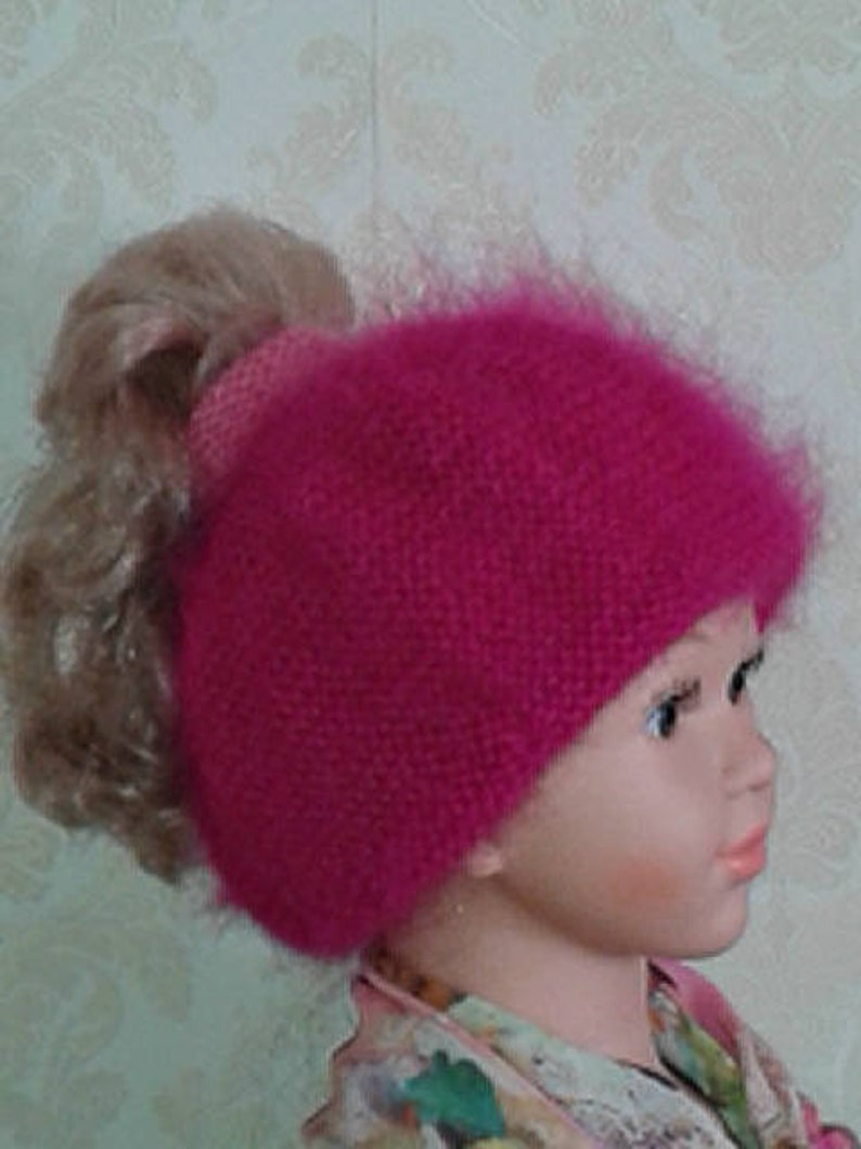 f21c54e14 Baby girl fuchsia pink mohair beret-SMALL size for 3-6 y.o. beret-Bright  pink hand knit messy bun mohair hat-Pony tail beret-Pink hat beanie