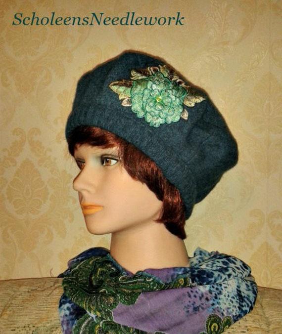 Ocean blue boiled wool beret-Handmade Beret with  0e418d8aa3d