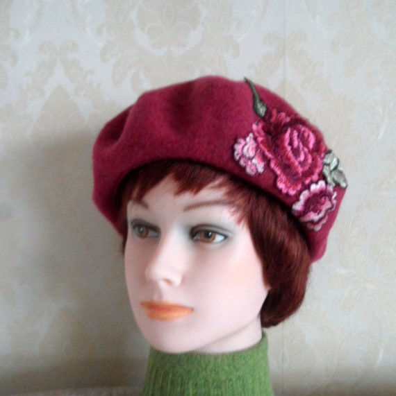 Raspberry pink color felted wool beret-Choice of 2 smart warm  08924b9461a
