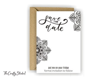 watercolor save the date card Indian weddingOxee back card for magnets blue mandala 30 Save the date magnet presentation card