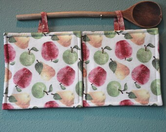 Apples and Pears, Insulated Potholders, Set of 2 heat-resistant potholders.