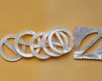 6 boucles de ruban Abalone victorien magnifique écharpe gardien blanc  crémeux e4bf568e3c5