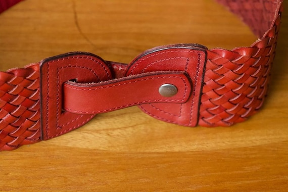 Wide Red Leather Woven Belt