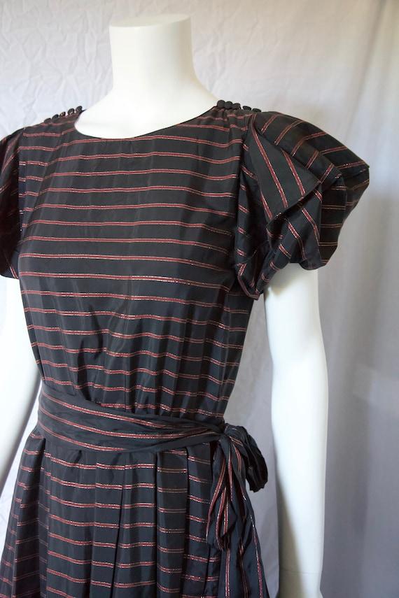 1980s Black Gold Red Taffeta Silk Dress by Nipon B