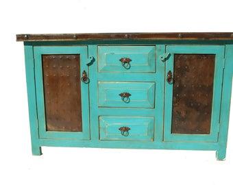 Rustic Turquoise Bathroom Vanity 3 Drawers