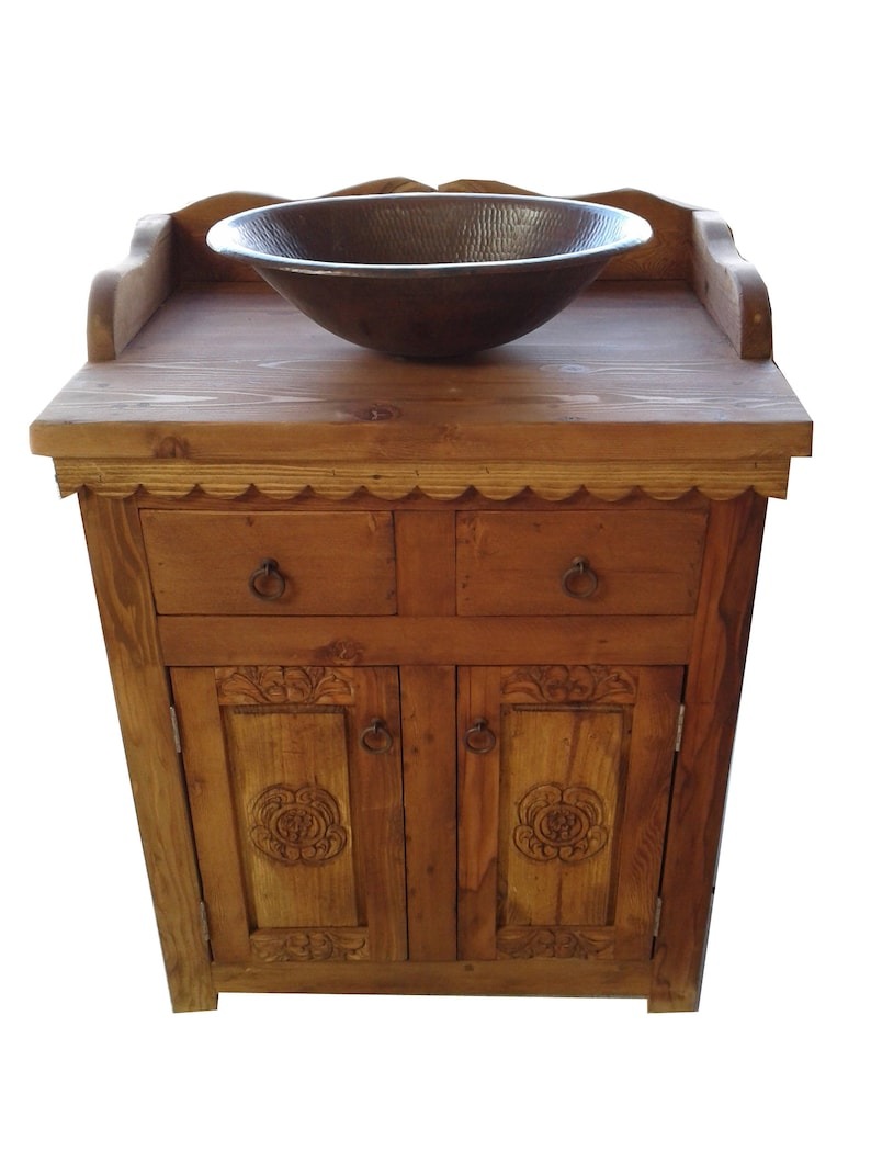 Rustique sculpté vanité salle de bain bois / Buffet armoire | Etsy