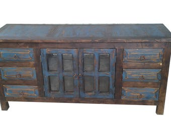 Rustic Reclaimed Wood 6 Drawer Vanity, Navy Blue