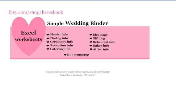 Simple Wedding Planner Binder Organizer