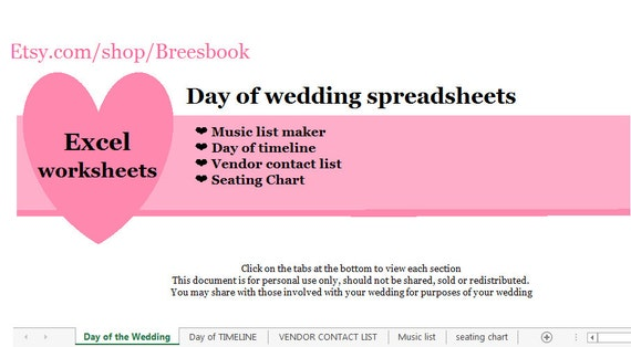 day of wedding spreadsheets day of timeline music list etsy