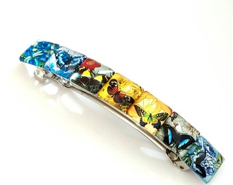 Large french barrette hair clip slide colorful vintage Christmas Sicret Santa gift winter scenery glass tiles unique gift idea one of a kind