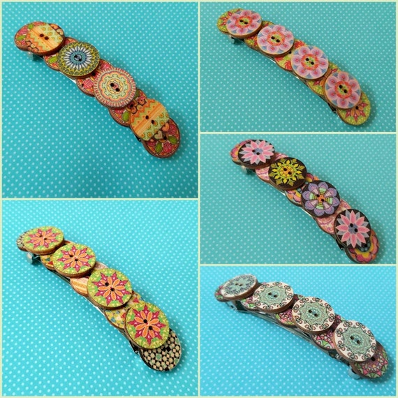 Colorful Large French barrette hair clip slide vintage wooden hair accessory new