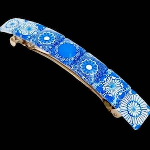 Glass Tile Hair French Barrette Large hair clip slide vintage boho Hippie
