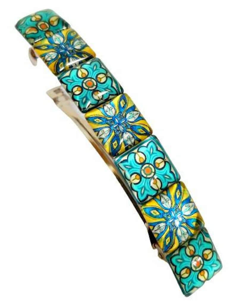 Large french barrette hair clip summer hair slide boho vintage blue glass tiles hair clip gift idea for her hair accessories green turquoise
