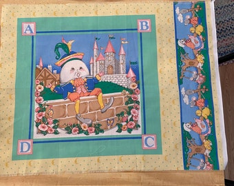 Mother Goose and Humpty Dumpty Cotton Fabric Panel - Vintage Nursery Rhyme Fabric
