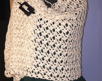 Cream Romantic Lacy Shawl