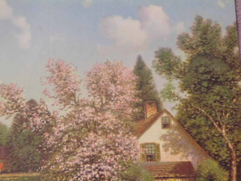 G.P 5236 Lithograph  Lake House with Cherry Blossoms